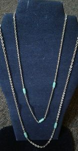 Set emmons gold chain green barrel glass necklaces